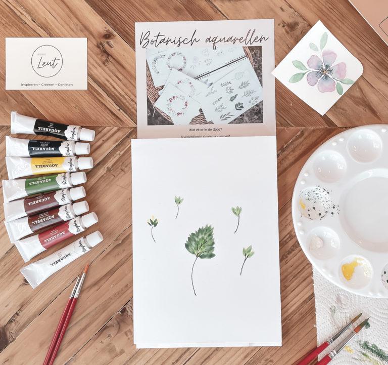 Afbeelding met de inhoud van het DIY Pakket Botanische aquarellen
